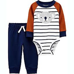 carter's® 2-Piece Striped Koala Long Sleeve Bodysuit and Pant Set in Brown