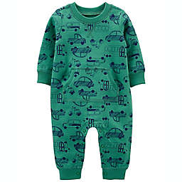 carter's® Car Print French Terry Jumpsuit in Green