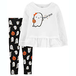 carter's® 2-Piece Halloween Ghost Top and Legging Set in White