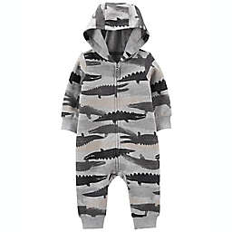 carter's® Size 6M Alligator Zip-Up French Terry Jumpsuit in Grey