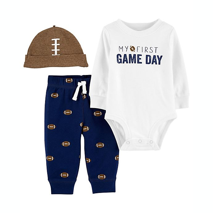 Alternate image 1 for carter's® 3-Piece First Game Football Outfit Set in White/Navy