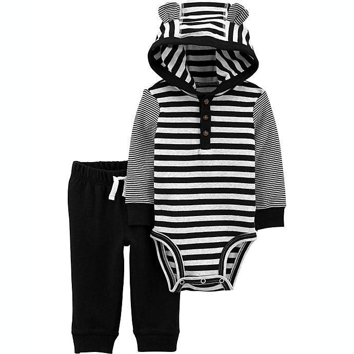 Alternate image 1 for carter's® 2-Piece Hooded Bodysuit and Pant Set in Black Stripes