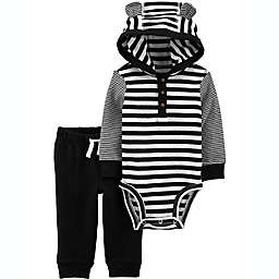 carter's® 2-Piece Hooded Bodysuit and Pant Set in Black Stripes