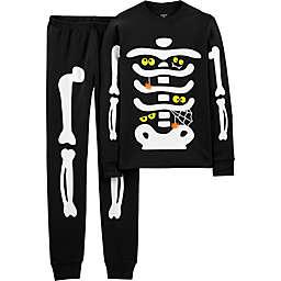 carter's® Children's 2-Piece Skeleton Glow Halloween Pajama Set in Black