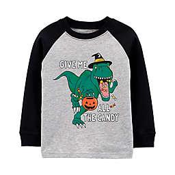 carter's® Halloween Dinosaur Long Sleeve Jersey Tee in Heather