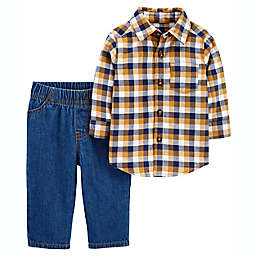 carter's® Size 3M 2-Piece Plaid Button-Front Shirt and Jean Set in Brown