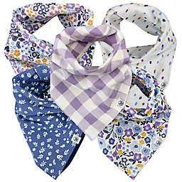 The Honest Company® 5-Pack Meadow Floral Reversible Bandana Bibs in Purple