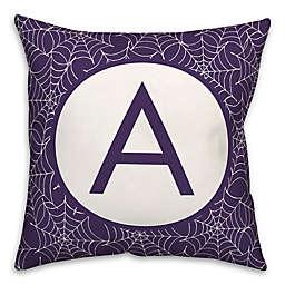 Designs Direct Spiderweb Personalized Monogram Square Halloween Throw Pillow in Purple