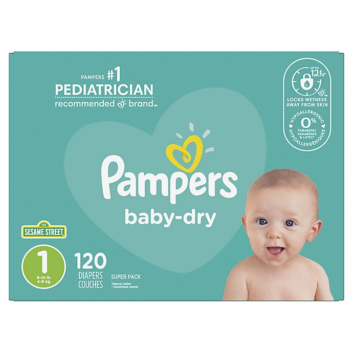 Alternate image 1 for Pampers® Baby-Dry 120-Count Size 1 Disposable Super Pack Diapers