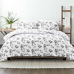 Home Collection® Edgy Flower 2-Piece Reversible Twin/Twin XL Duvet Cover Set in Grey