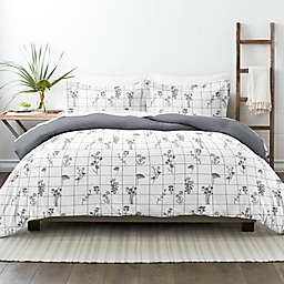 Home Collection® Flower Field 3-Piece Reversible Full/Queen Duvet Cover Set in Grey