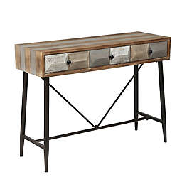 Rustic Mid-Century Three Drawer Console Table