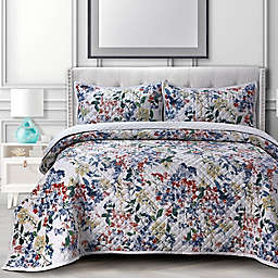 Tribeca Living Floris Oversized Velvet 3-Piece King Quilt Set