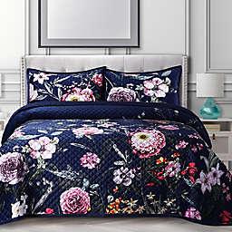 Tribeca Living Zara Oversized Velvet 3-Piece King Quilt Set