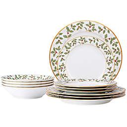 Noritake™ Holly & Berry 12-Piece Dinnerware Set in Gold