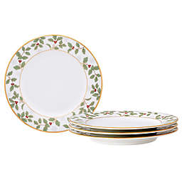 Noritake™ Holly & Berry Bread & Butter Plates in Gold (Set of 4)