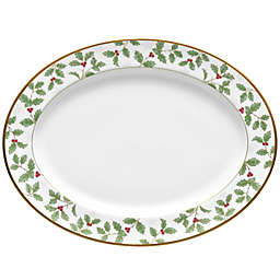 Noritake™ Holly Berry Christmas Oval Platter in White