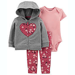 carter's® Size 6M 3-Piece Floral Little Hooded Jacket Set in Grey/Pink