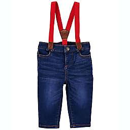 OshKosh B'gosh® Knit Denim Suspender Jeans in Blue/Red