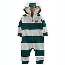 carter's® Size 18M Striped Zip-Up French Terry Jumpsuit in Green/Grey