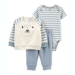 carter's 3-Piece Bear Face Pullover Set in Ivory/Blue