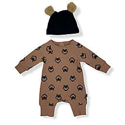 Mini Heroes™ Size 6M 2-Piece Wolf Coverall and Hat Set in Brown