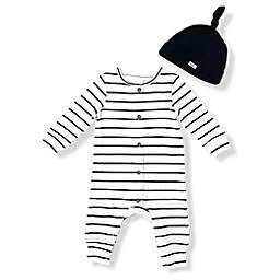 Mini Heroes™ Size 12M 2-Piece Stripe Coverall and Hat Set in Ivory/Black
