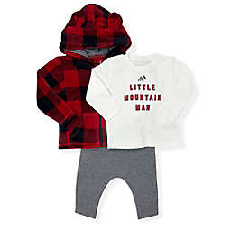 Mini Heroes™ Size 12M 3-Piece Buffalo Mountain Man Hoodie, Top and Pant Set in Red