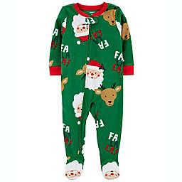 """carter's® Santa Fleece """"Fa La La"""" Footie Pajama in Green"""