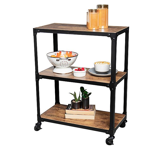 Alternate image 1 for Squared Away™ 3-Tier Wood and Metal Utility Cart in Black/Natural