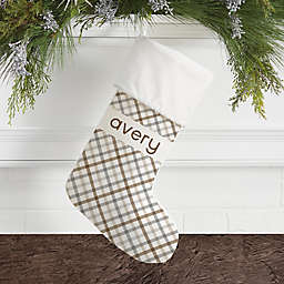 Plaid Personalized Christmas Stocking in Ivory