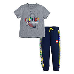 LEGO® Size 4T 2-Piece Future Engineer Tee and Jogger Set in Grey/Navy