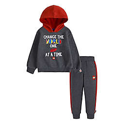 LEGO® Size 2T 2-Piece Change The World Hoodie and Pant Set in Charcoal/Red