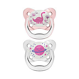 Dr. Brown's® PreVent® Stage 2 2-Pack Glow in the Dark Orthodontic Pacifiers in Pink