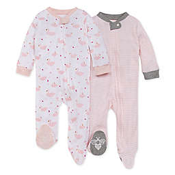 Burt's Bees Baby® Size 6-9M 2-Pack Graceful Swans Sleep 'N Play Footies