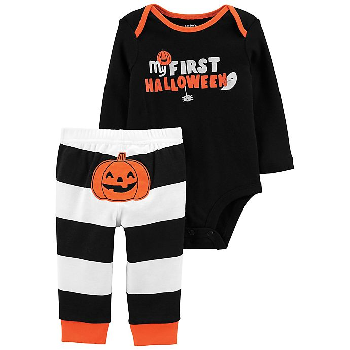 Alternate image 1 for carter's® 2-Piece Halloween Stripes Bodysuit and Pant Set in Black
