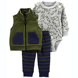 carter's® 3-Piece Fleece Elephant Vest Set in Green/Navy
