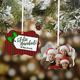 Gift Tag Greetings Photo 4-Inch x 3.75-Inch Personalized 2-Sided Christmas Ornament