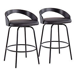 LumiSource® Grotto Claire Swivel Counter Stools in Black (Set of 2)