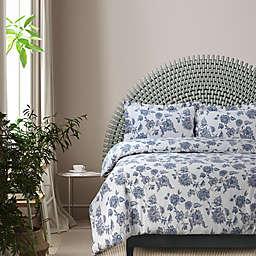 Tribeca Living Ayana Floral Flannel 3-Piece Queen Duvet Cover Set in Deep Blue