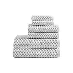 Renzo Cotton Terry White/Grey 6 Pc Towel Set