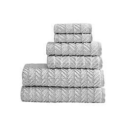 Slate Chevron Cotton White/Grey 6 Pc Towel Set