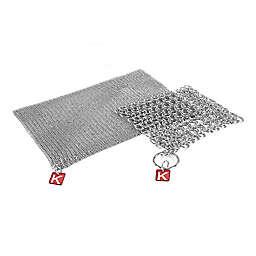 Knapp Made 2-Piece Chainmail Kitchen Scrubber Set in Metallic