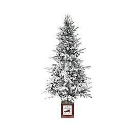 Luxen Home 5-Foot Flocked LED-Lit Artificial Christmas Tree