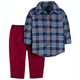 carter's® 2-Piece Plaid Button-Front and Pant Set in Navy/Burgundy