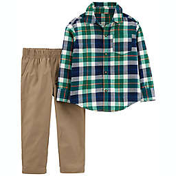 carter's® Size 18M 2-Piece Plaid Button-Front Shirt and Pant Set in Green