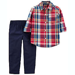 carter's® Size 6M 2-Piece Plaid Button-Front Shirt & Pant Set in Navy/Red