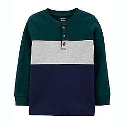 carter's® Size 3T Colorblock Henley Jersey Long Sleeve Tee in Green/Multi