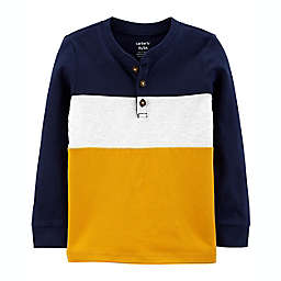 carter's® Size 2T Colorblock Henley Jersey Long Sleeve Tee in Navy/Multi