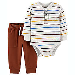 carter's® Size 3M 2-Piece Striped Henley Bodysuit and Pant Set in Multicolor